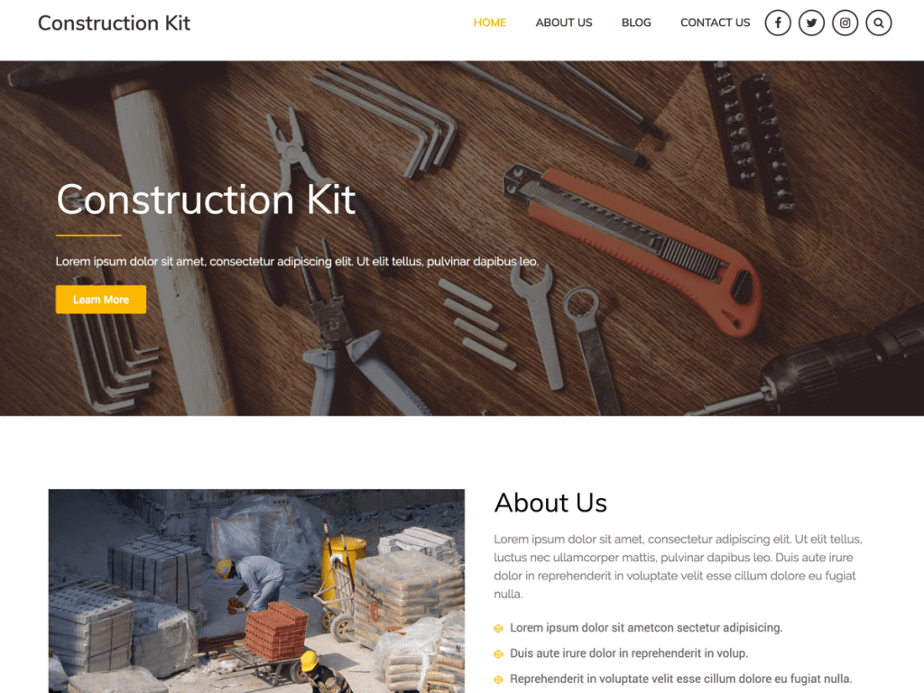 Construction Kit – Free WordPress Construction Theme