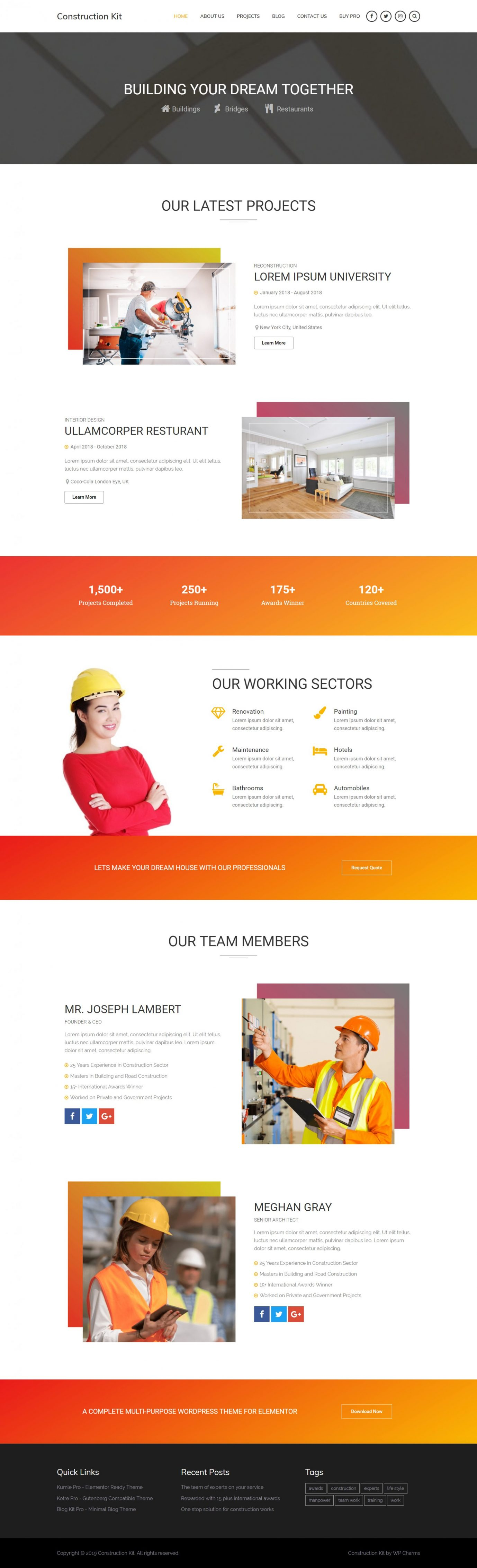 Free WordPress Construction Theme - Demo 1