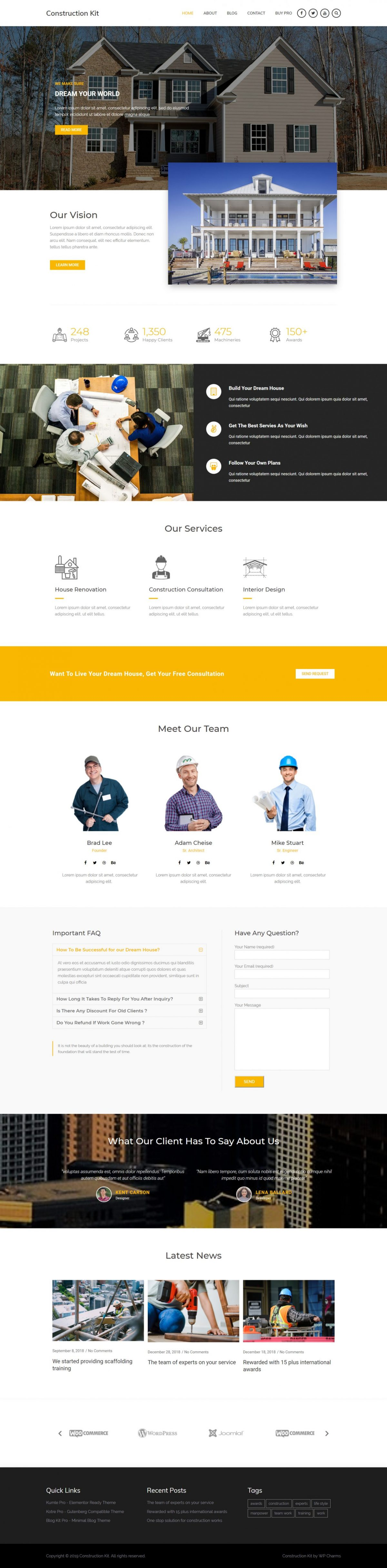 Free WordPress Construction Theme - Demo 3